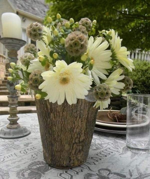 Ahşap Kütük Parçalarıyla Dekoratif El Yapımı Vazo Fikirleri (3)