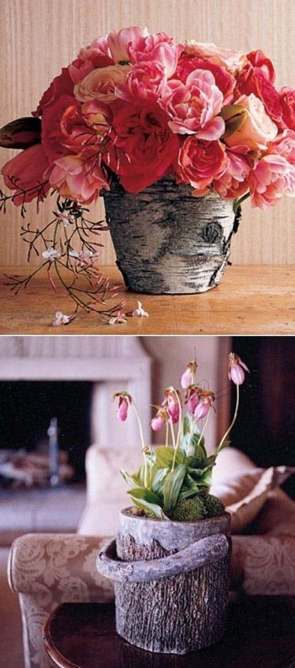 Ahşap Kütük Parçalarıyla Dekoratif El Yapımı Vazo Fikirleri (4)
