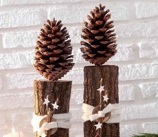 Ağaç Kütüğü ve Kozalak İle Yılbaşı Dekorasyonu İçin Fikirler